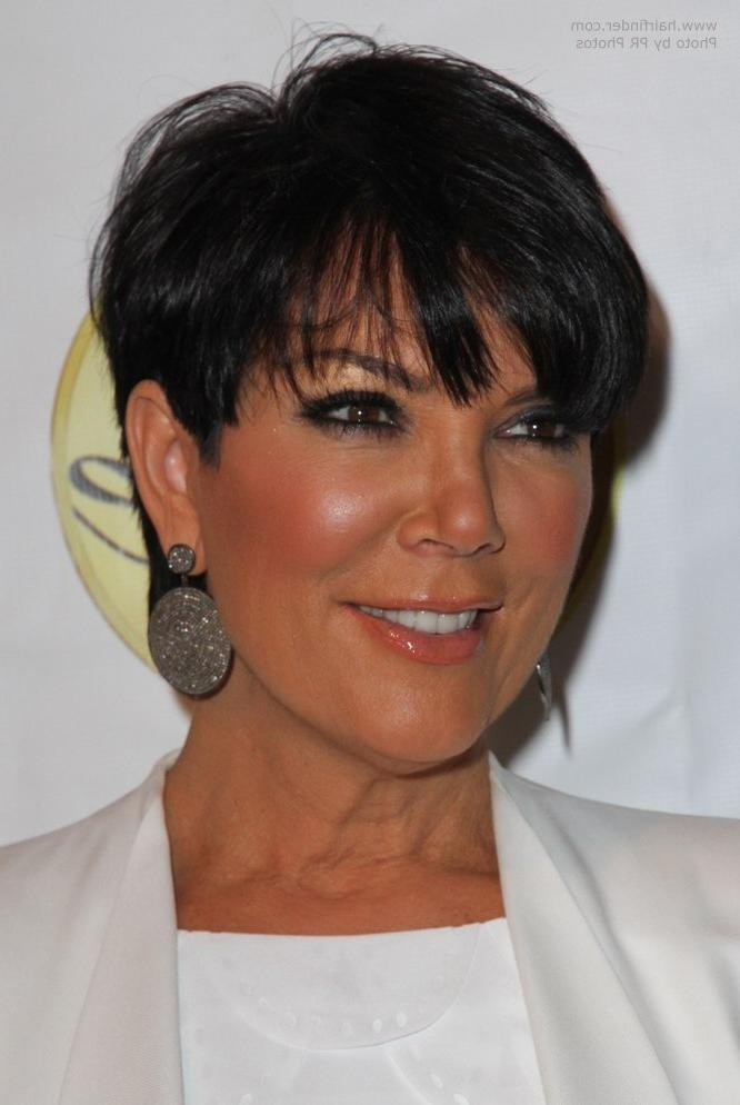 Kris Jenner Wearing Her Hair Short With The Sides Clipped Over Her With Regard To Kris Jenner Short Haircuts (View 15 of 20)