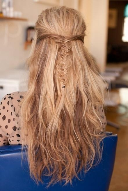 Latest Half Up Long Hairstyles Intended For Messy Fishtail Braid, Half Up, Half Down Hairstyles: Long Hair (View 9 of 20)