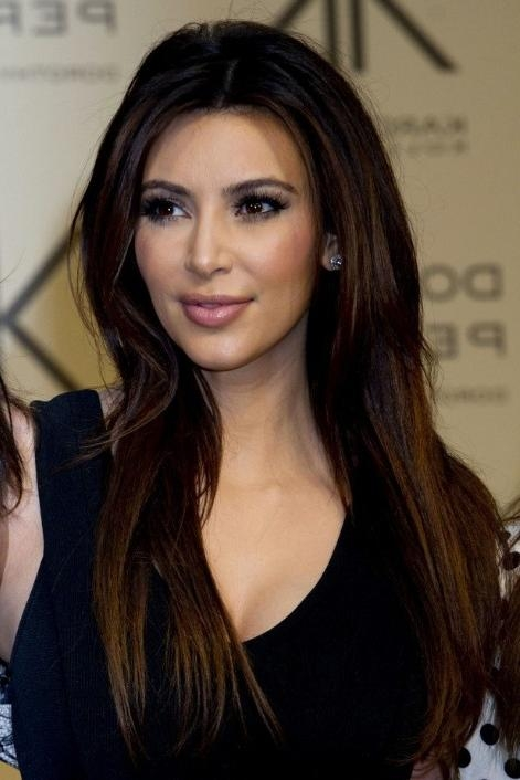 Latest Kim Kardashian Long Haircuts Inside Kim Kardashian Sleek Long Hairstyle For Straight Hair – Popular (View 4 of 15)