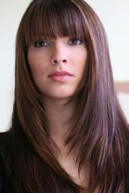 Latest Long Hairstyle With Fringe In Hairstyles For Long Faces (View 5 of 20)