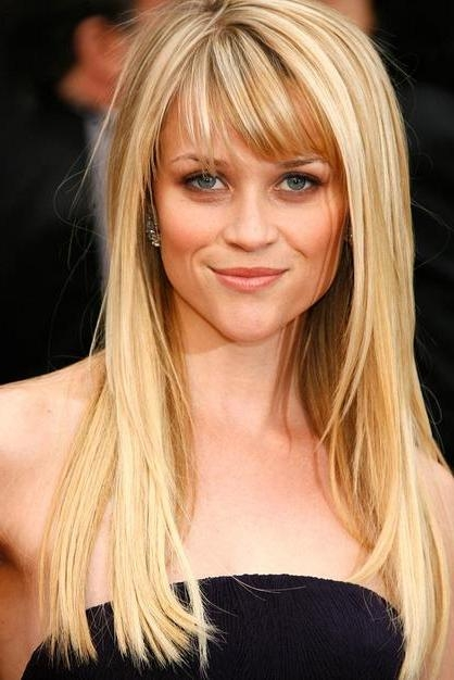 Latest Long Hairstyles With Straight Bangs For Layered Hairstyle: Girls Long Hairstyle With Swept Fringe (View 15 of 20)