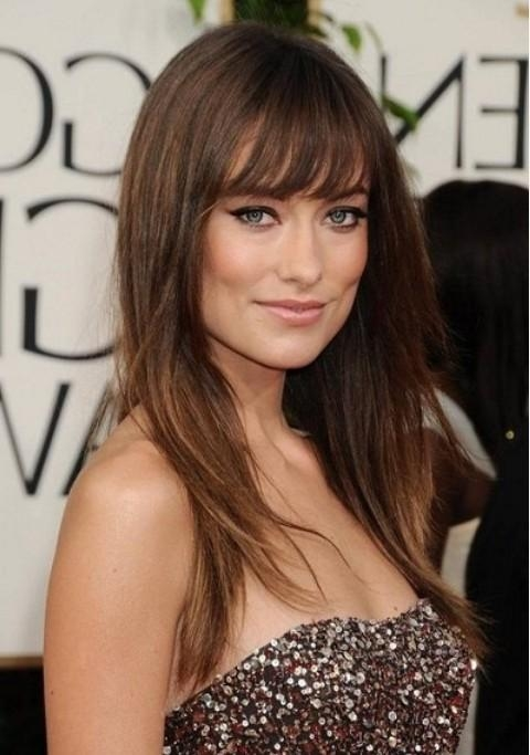 Latest Long Hairstyles With Straight Bangs With Regard To Olivia Wilde Hairstyles: Layered Straight Haircut With Bangs (View 9 of 20)