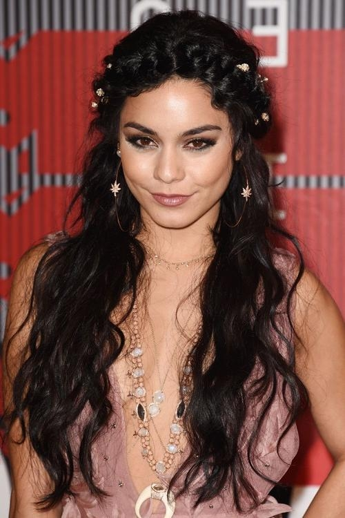 Latest Vanessa Hudgens Long Hairstyles With Regard To Vanessa Hudgens Wavy Black Crown Braid, Loose Waves Hairstyle (View 8 of 20)