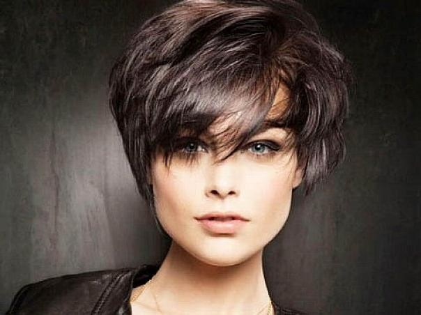 Messy Short Hairstyles Side Bangs Thick Hair For Long Oval In Short Haircuts For Thick Hair With Bangs (View 20 of 20)