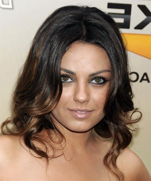 Mila Kunis Long Wavy Formal Hairstyle – Dark Brunette Hair Color Within Mila Kunis Short Hairstyles (View 13 of 20)