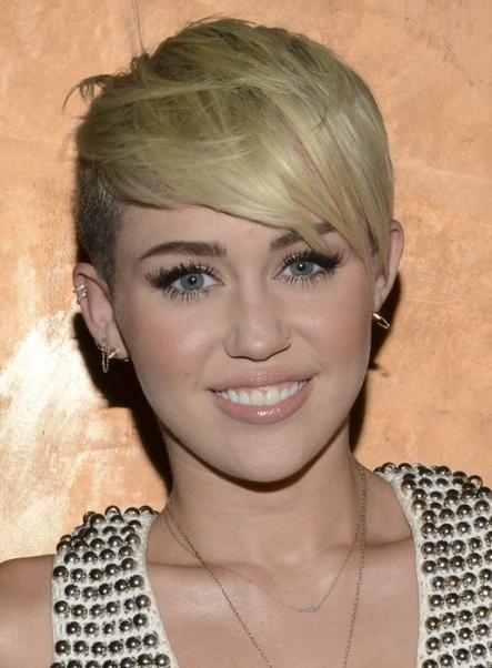Miley Cyrus, Blonde Pixie Hairstyle: Razor Haircuts – Popular Haircuts Within Miley Cyrus Short Hairstyles (View 10 of 20)
