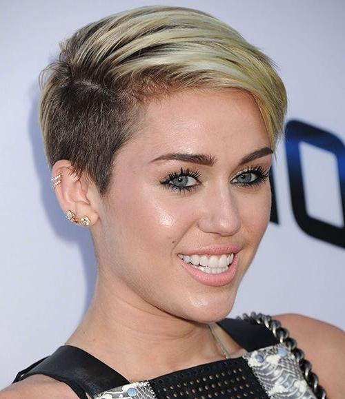 Miley Cyrus Short Haircut: Platinum Dip Dye Side Buzzed Pixie With Regard To Miley Cyrus Short Hairstyles (View 9 of 20)