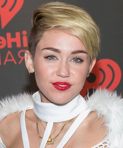 Miley Cyrus Short Straight Casual Hairstyle – Medium Blonde Throughout Miley Cyrus Short Haircuts (View 14 of 20)