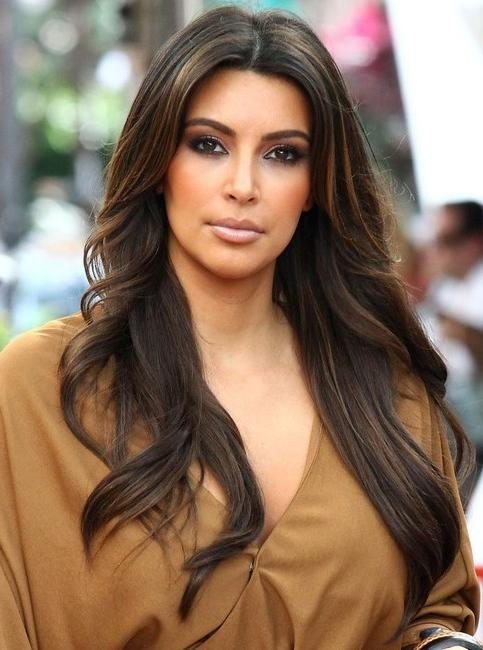 Most Current Kim Kardashian Long Haircuts For Kim Kardashian Long Hairstyles: Center Parted Hairstyles – Popular (View 7 of 15)