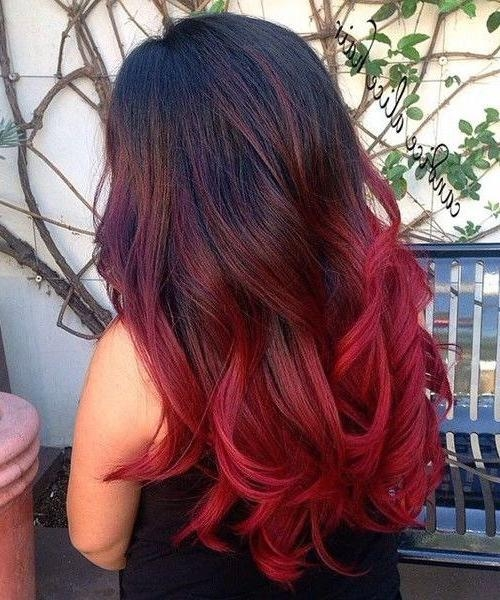 Most Current Long Hairstyles For Red Hair Intended For So Nice Bright Red Ombre Long Hairstyles For Girls 2016 | Red (View 9 of 20)