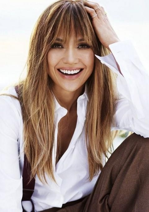 Most Current Long Hairstyles With Straight Bangs For Jennifer Lopez Hairstyles: Vivacious Straight Haircut With Bangs (View 10 of 20)