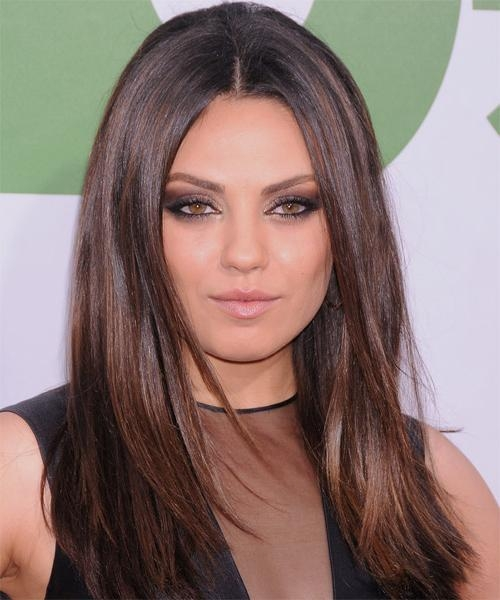 Most Current Mila Kunis Long Hairstyles Intended For Mila Kunis Long Straight Casual Hairstyle – Dark Brunette (View 4 of 15)