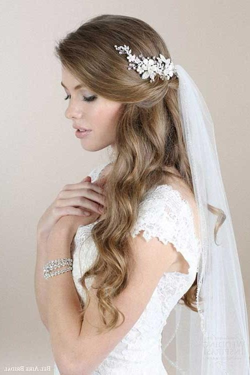 Most Popular Elegant Long Hairstyles For Weddings Regarding 25+ Cute Veil Hairstyles Ideas On Pinterest | Bride Hairstyles (View 20 of 20)