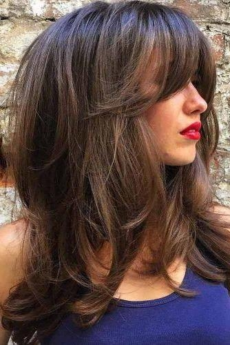 Most Popular Long Hairstyle With Fringe Inside 25+ Unique Side Swept Bangs Ideas On Pinterest | Sweep Bangs, Cut (View 16 of 20)