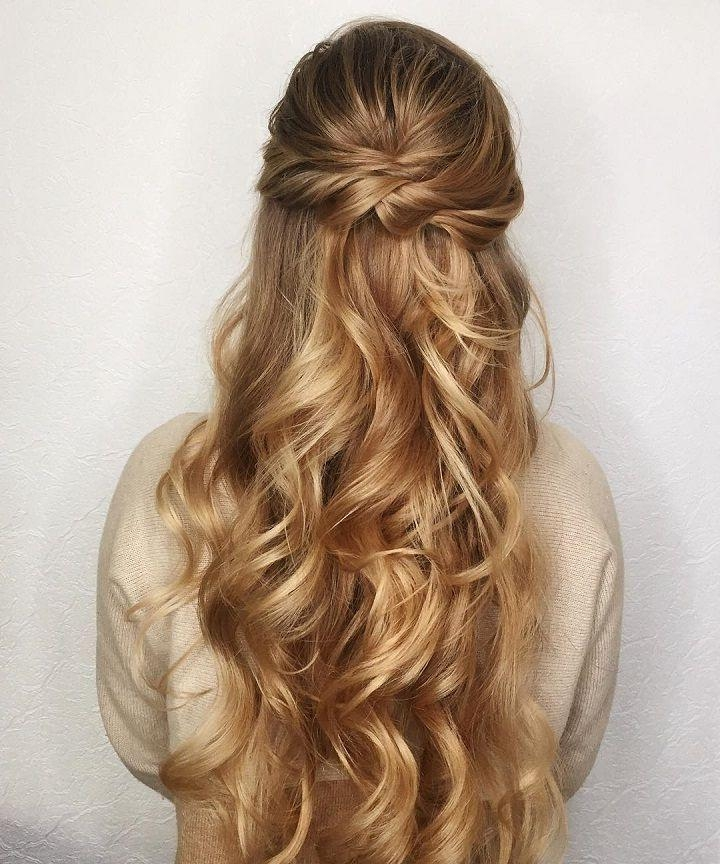 Most Recent Down Long Hairstyles Intended For Best 25+ Half Up Half Down Ideas On Pinterest | Prom Hair Down (View 15 of 20)
