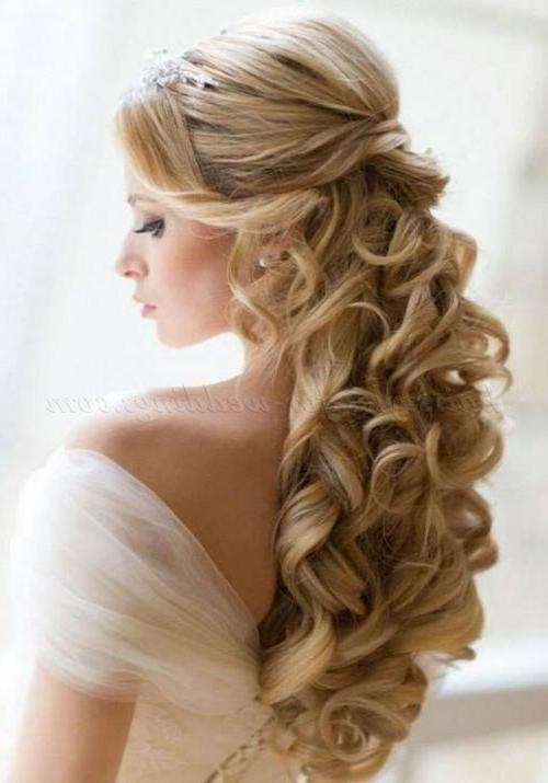 Most Recent Wedding Long Down Hairstyles Pertaining To Bridal Hairstyles For Long Hair Down Half Up Half Down Wedding (View 15 of 20)