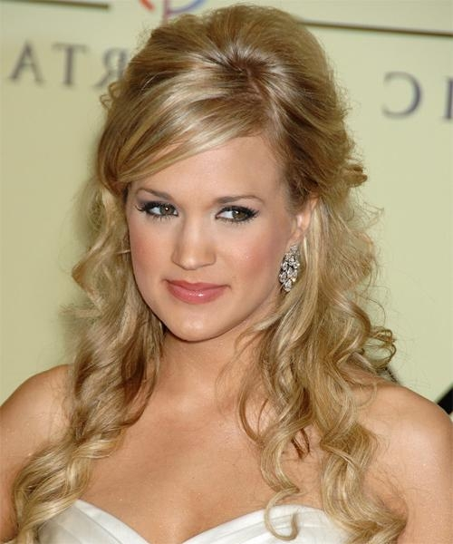 Most Recently Released Carrie Underwood Long Hairstyles With Regard To Carrie Underwood Long Curly Formal Half Up Hairstyle (View 13 of 15)