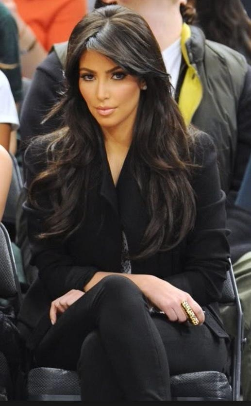 Most Recently Released Kim Kardashian Long Haircuts Regarding Kim Kardashian Long Layers. Side Bang. Long Hair (View 10 of 15)