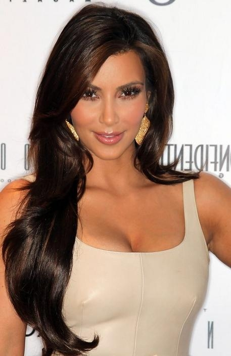 Most Recently Released Kim Kardashian Long Hairstyles In Kim Kardashian Hairstyles – Celebrity Latest Hairstyles (View 14 of 20)