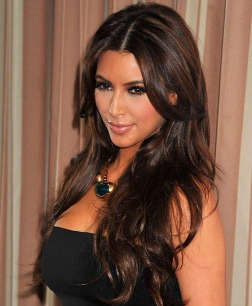Most Recently Released Kim Kardashian Long Hairstyles Inside Kim Kardashian Hairstyles – Center Parted Hairstyles For Long Wavy (View 16 of 20)