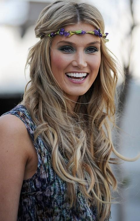 Most Recently Released Long Hairstyles With Headbands With Regard To Delta Goodrem Hairstyles: Center Parted Long Curls With Headband (View 12 of 15)