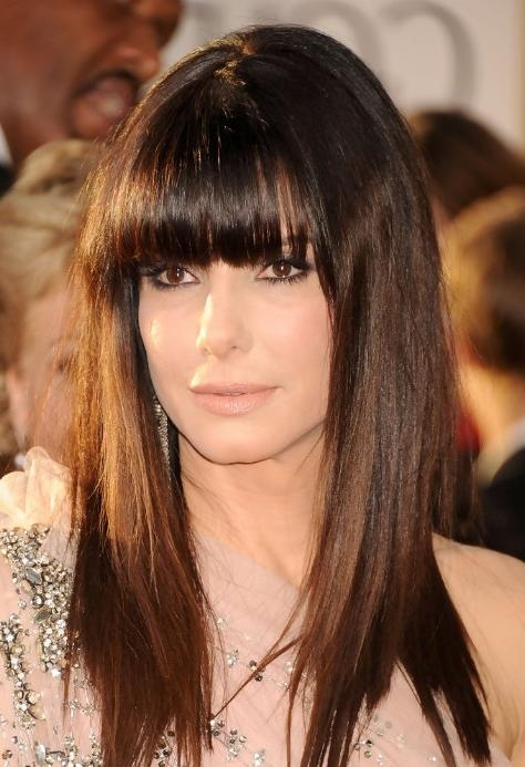 Photo Gallery Of Long Hairstyles With Straight Bangs Viewing 11 Of