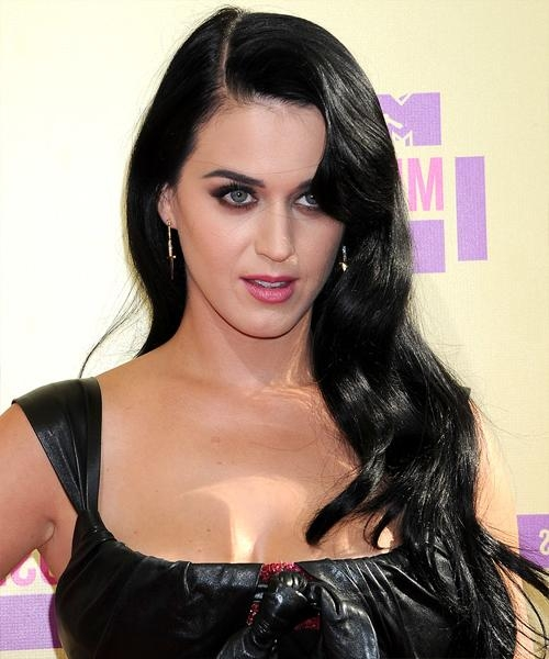 Most Up To Date Katy Perry Long Hairstyles Pertaining To Katy Perry Long Wavy Casual Hairstyle – Black Hair Color (View 12 of 15)