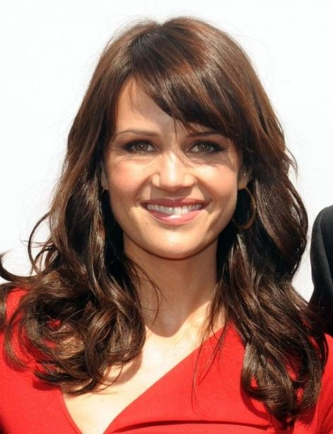 Newest Long Hairstyles With Side Fringe Regarding Carla Gugino Long Hairstyles With Side Bangs – Popular Haircuts (View 15 of 20)