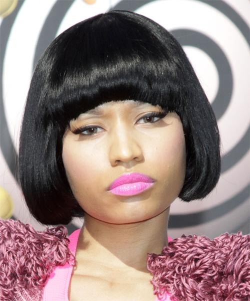Nicki Minaj Short Straight Casual Bob Hairstyle With Blunt Cut Inside Nicki Minaj Short Haircuts (View 17 of 20)