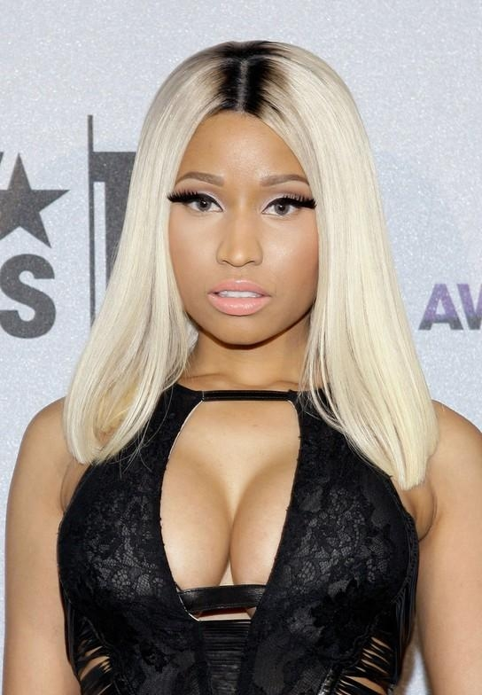 Nicki Minaj Trendy Center Parted Long Straight White Hairstyle Intended For Nicki Minaj Short Haircuts (View 20 of 20)