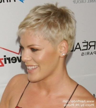 Pink | Boyish Short Hairstyle With The Ears And Neck Exposed For Pink Short Haircuts (View 7 of 20)