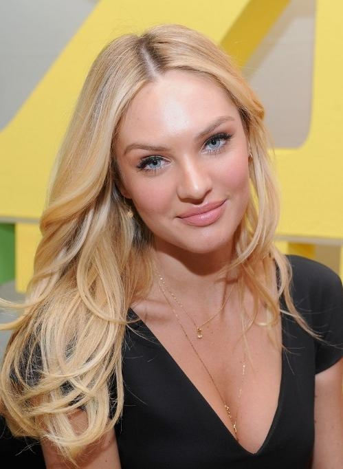 Recent Center Part Long Hairstyles In Candice Swanepoel Sexy Long Blonde Center Part Hairstyle (View 18 of 20)