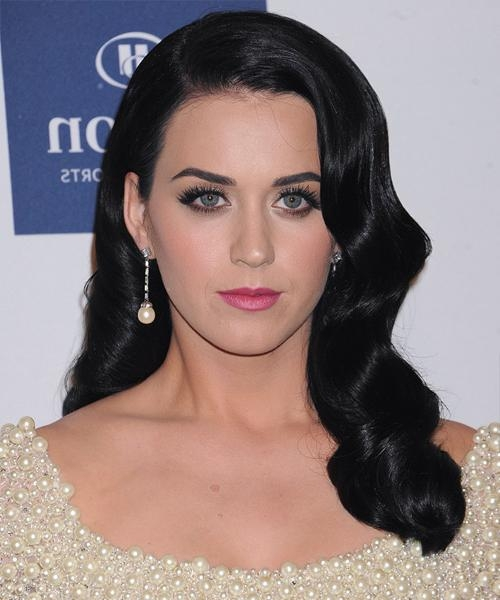 Recent Katy Perry Long Hairstyles With Katy Perry Long Wavy Formal Hairstyle – Black (Ash) Hair Color (View 15 of 15)