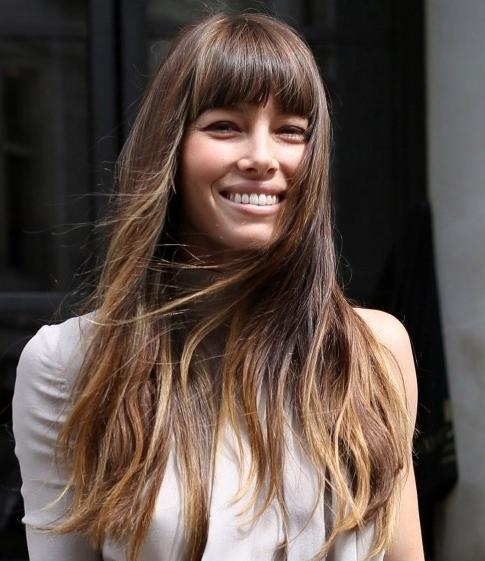 Recent Long Hairstyles With Straight Bangs Within Jessica Biel Long Hairstyle: Straight Haircut With Thick Bangs (View 8 of 20)