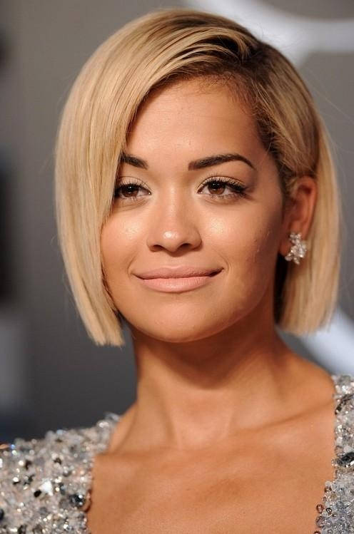 Rita Ora Short Bob Haircuts For Round Face Shapes | Styles Weekly Inside Short Haircuts Bobs For Round Faces (View 16 of 20)