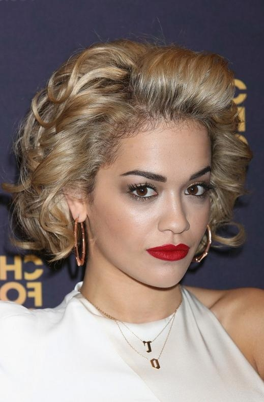 Rita Ora's Short Curly Hairstyle: Classic – Pretty Designs Regarding Rita Ora Short Hairstyles (View 12 of 20)