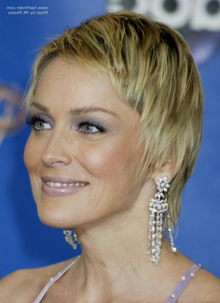 Sharon Stone Hair | Smooth Short Razor Cut With Length In The Neck Throughout Sharon Stone Short Haircuts (View 11 of 20)