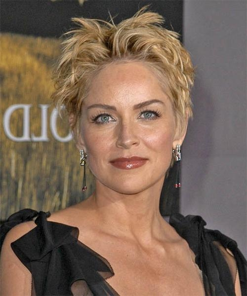 Sharon Stone Short Straight Casual Hairstyle – Medium Blonde With Sharon Stone Short Haircuts (View 14 of 20)