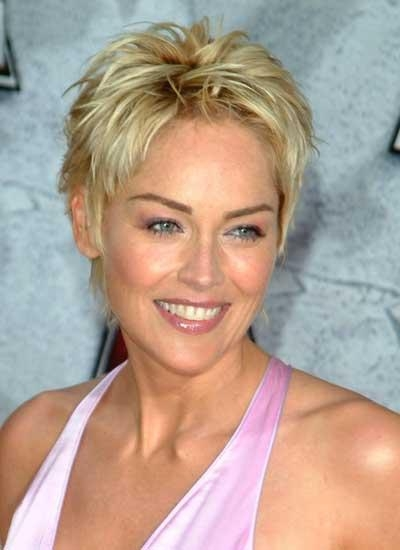 Sharon Stone With Short Hair Throughout Sharon Stone Short Haircuts (View 11 of 20)