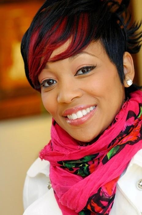 Short Black Hairstyle With Fiery Red Fringe – Monica Haircut Within Red And Black Short Hairstyles (View 16 of 20)