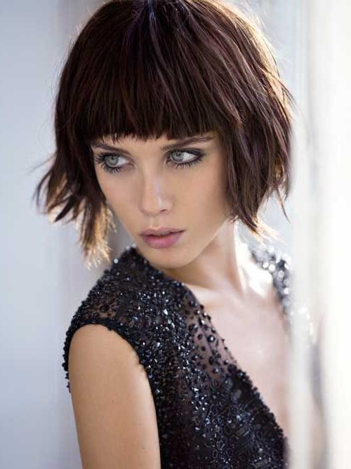 Short Choppy Bob Hair Style Messy Layers Full Bangs Fringe Intended For Short Haircuts With Full Bangs (View 14 of 20)