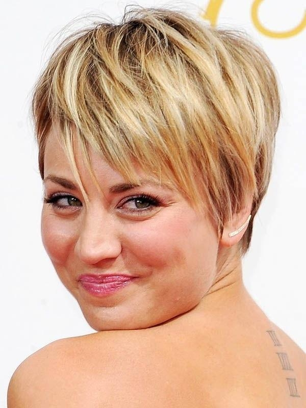Short Haircut Styles : Womens Short Haircuts For Fine Kaley Cuoco For Short Hairstyles For Round Face And Fine Hair (View 11 of 20)