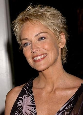 Short Haircuts For Thick Hair Sharon Stone | Sophisticated Allure Regarding Sharon Stone Short Haircuts (View 5 of 20)