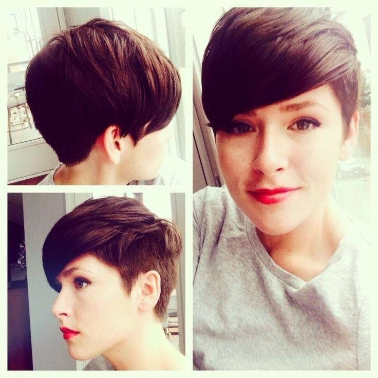 Short Hairstyle Cut Boy Back Chic Shaved Pixie Hairstyles Short With Short Hairstyles Shaved Side (View 18 of 20)