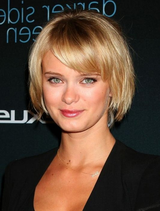 Short Hairstyle For 2014: Layered Golden Bob With Bangs: Sara Regarding Short Hairstyles With Bangs And Layers (View 17 of 20)