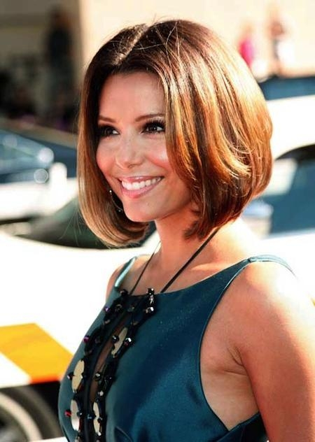 Short Hairstyles And Cuts | Eva Longoria Short Bob With Center Part Within Center Part Short Hairstyles (View 18 of 20)