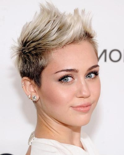 Short Hairstyles And Cuts | Miley Cyrus Spiked Pixie Buzz Cut Inside Miley Cyrus Short Haircuts (View 18 of 20)