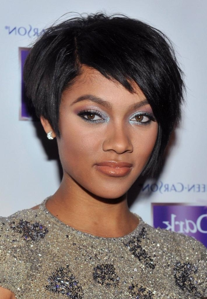 Short Hairstyles: Best Short Hairstyles For Black Round Faces Regarding Short Haircuts For Round Faces African American (View 17 of 20)