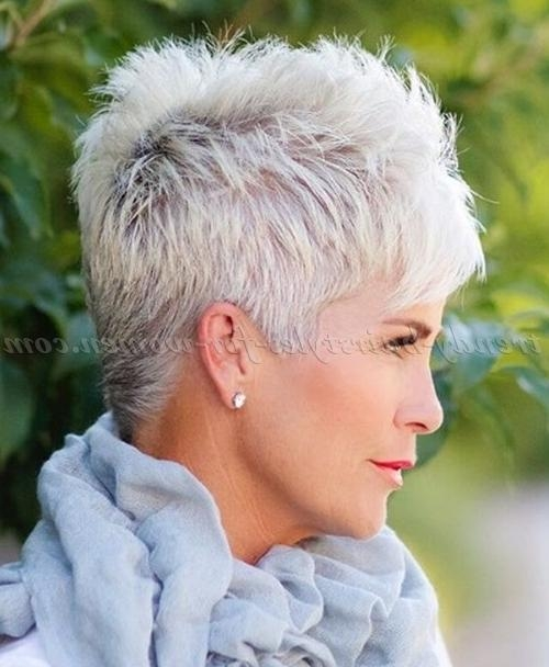 Short Hairstyles Over 50 – Spiky Short Hairstyle For Grey Hair Within Short Haircuts For Women With Grey Hair (View 9 of 20)