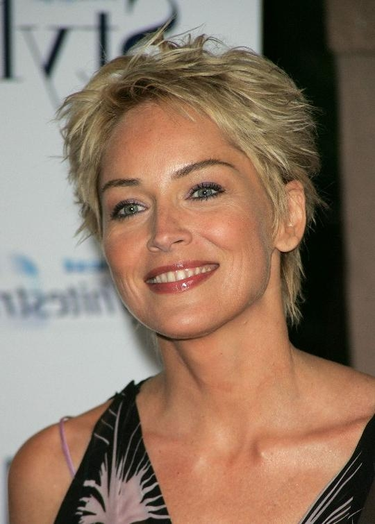 Short Pixie Cut For Women Over 50 – Sharon Stone Hair Style For Sharon Stone Short Haircuts (View 8 of 20)